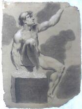 Italia XVIII secolo Studio anatomico Nudo maschile Disegno su carta cm45x32 '700