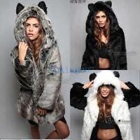 Hot Womens Faux Fur Coat Furry Jacket Animal Ear Hooded Parka 768697 New Outwear