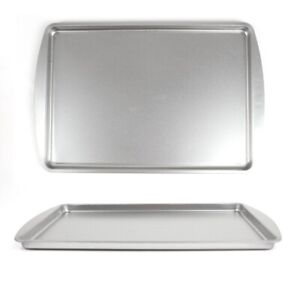 2x LARGE OVEN COOKING TRAYS Baking Tin Easy Clean Classic Steel Pan Grilling UK