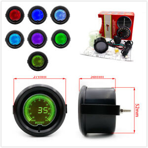"Universal 2"" 52mm Car Digital LED Turbo Boost 7 Colors Meter Readout Car Truck"