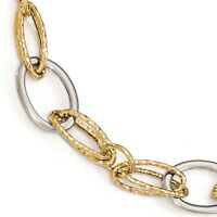 Ladies 14k Two-Tone Gold Leslies Polished & Textured Fancy Link Bracelet 7.5""
