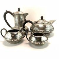 Arts & Crafts Style Craftsman Sheffield Hammered Pewter Bakelite Tea Coffee Set