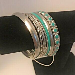 Bangle Bracelets (Set of 8) Turquoise Color Silvertone NEW! J6352