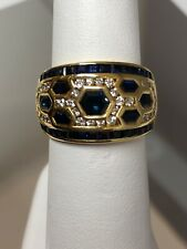 Honeycomb Right Hand Wide Band Ring LeVian 18k Yellow Gold Sapphire & Diamond