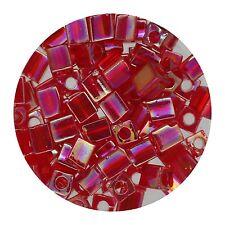 Square Glass Beads Japan 4mm Miyuki Cube Ruby Ab