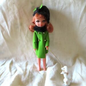 Vintage 60s Tiny Teens Doll & Dog Uneeda 1967 Winter Time Green Coat Hat