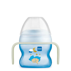 Baby Drinking MAM Starter Sippy Cup & Glow with Handles Blue 150ml