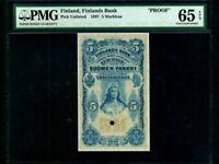 Finland:P-1a,5 Markkaa,1897 * 1st Issue * VG-F * PROOF * PMG Gem UNC 65 EPQ *