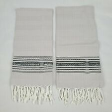 Scents and Feel Set Of 2 Hand Woven Cotton Guest Towels Silver White New