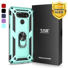 For LG K51/Q51/Reflect, Phone Case TJS DuoGuard Ring Holder+Tempered Glass