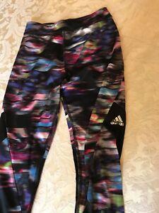 adidas Girls Leggings Full Length Black Multi Size M (10/12)