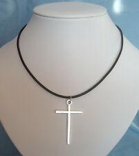 Plain Large Cross Pendant Leather Cord Thong Necklace