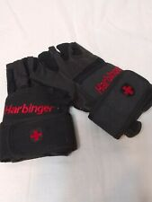 Harbinger 140 Ventilated Pro Wristwrap Weight Lifting Gloves - Black size L