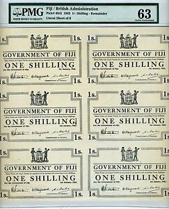 FIJI, 6 x 1 shilling 1942, Uncut sheet, Pick 48r2, WWII, PMG-63 Choice UNC