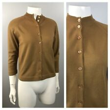 1960s Cardigan Sweater / Mocha Brown Soft Button Up Sweater Top / Small
