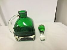 Heavy Green Glass Barware Square Decanter-Unmatched Green Stopper