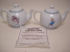 OFFICIAL BEATRIX POTTER PETER RABBIT & MRS TIGGY WINKLE MINIATURE CHINA TEAPOTS