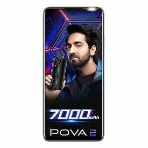 "Tecno POVA 2 6GB RAM 128 GB 6.95"" Quad Camera Dual SIM  Unlocked GoogleplayPhone"