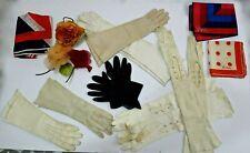 Lot Vintage Womens Accessories 13pcs Vera Scarves Leather Gloves Flower Corsages