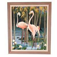 Vintage Paint By Numbers Mid Century Modern Two Flamingo Framed Painting MCM