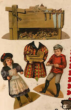 1890's Antique Lion Coffee Cut-Out Victorian Paper Dolls the carpenter doll ad