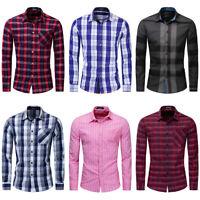 New Men Slim Fit Plaid Dress Shirt Long Sleeve Casual Button Down Cotton Shirts
