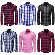 New Men Slim Fit Plaid Dress Shirt Long Sleeve Casual Button Down Cotton Shirts