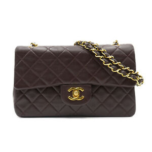 CHANEL Matelasse W Flap Chain Shoulder hand Bag Lambskin leather Brown Used
