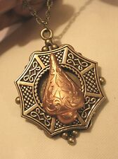 Lovely Ball Cluster Swirled Celtic Octagon Raised Brassy Inset Cameo Necklace