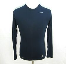 Nike Pro Men's (Size Small) Solid Dark Blue Long Sleeve Athletic T-Shirt Fitness
