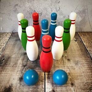 Mini Wooden Skittles Garden Lawn Outdoor Game 10 Pin Bowling Set