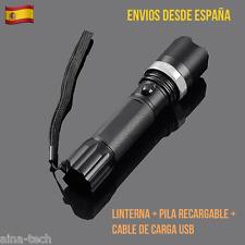 Linterna LED Recargable USB + Pila Recargable + Cable De Carga 800 Lumens SÚPER