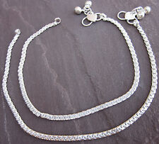 Shiny Silver Ankle Chain Anklet Bracelet Pair Barefoot Jewelry Girls Womens Gift