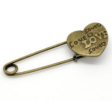 Bronze Coloured Love Heart Pin Brooch ideal for kilt, scarf, or cardigan etc