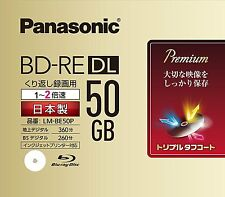 1pack Panasonic  50GB  BD-RE DL 2x speed Blank Disc Repacked Blu-ray Japan