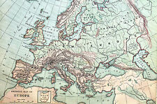 Antique Map of EUROPE Spain Italy British Isle France Austria Russia 1883 Matted