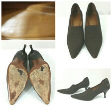 Donald J Pliner Shoes Heels Pumps Brown Fabric and Leather Size 7M