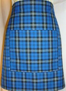 SHORT BISTRO / CAFE / PUB APRON, LOVELY ROYAL BLUE TARTAN. Made in Scotland