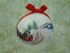 H058 Hand-made Christmas Ornament - horse & sleigh - snow covered stone bridge