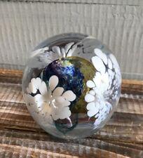 Jerpoint Glass Studios Ireland Handmade Art Glass Paperweight  White Flowers