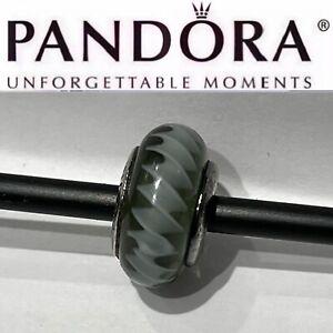 Authentic Pandora Sterling ZIGZAG Black Glass Murano Charm 790601