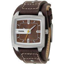 Fossil Men's JR9990 Analog Brown Dial Brown Leather Cuff Strap Watch