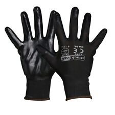 12 x Pair Blackrock Super Grip Black Nitrile Rubber Safety Work Gloves (84302)