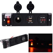 4-in 1 LED Schaltpanel 12V Zigarettenanzünder + Dual USB+ Voltmeter Bus Marine