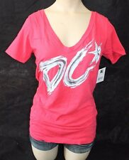 """NWT! Women's DC shoes """"Young Science"""" pink v neck t shirt / sz S $24.00"""