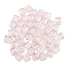 50pcs Pink Faceted Square Cube Glass Crystal Loose Beads for Jewelery Making