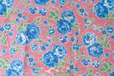 """1930s Vintage Feed Sack Cotton Blue Roses on Pink Flour Sack Quilting 31"""" X 56"""""""