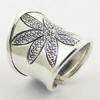 Silver ring 925 sterling Cylinder Ornate Flower handmade size 6us 7us 8us 9us