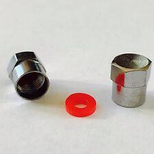 10 x Schrader Nero Tappi in Plastica Valvola Pneumatico con Rosso GUARNIZIONE O-RING GUARNIZIONE