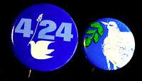 2 PEACE PINS 1970'S BUTTONS -GREAT GRAPHICS -  ORIGINAL PINBACKS SCARCE